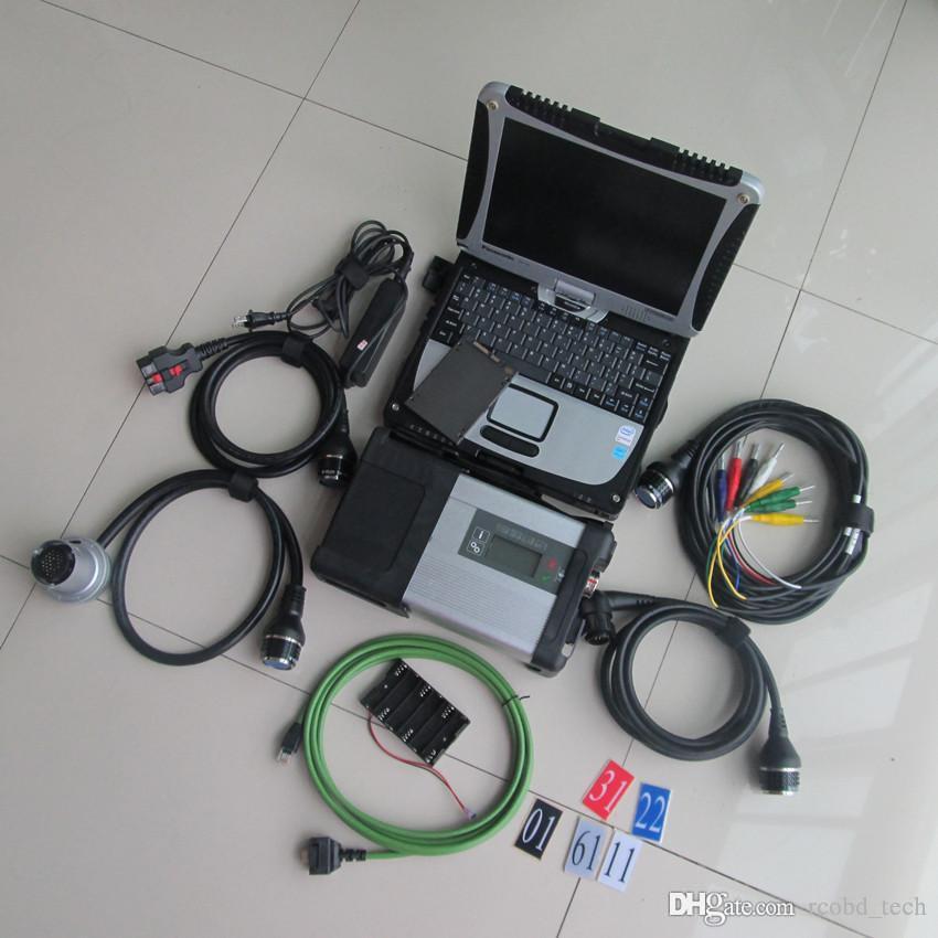 MB Yıldız Teşhis Aracı SD Connect Connect Connect C5 Laptop ile CF19 Dokunmatik Ekran Süper SSD Tüm Kablolar Tam Set