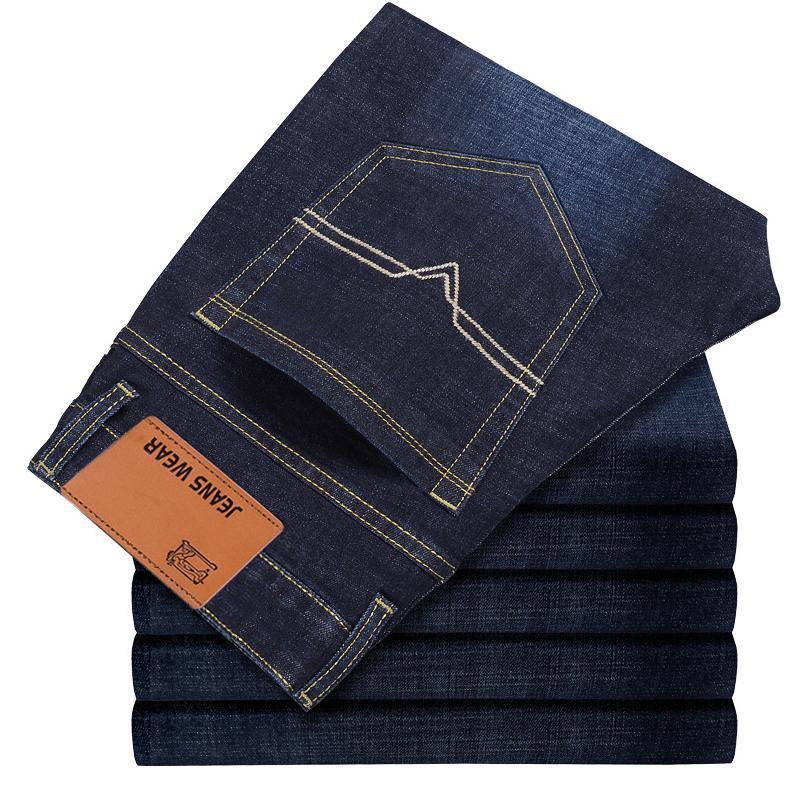 2018 CHOLYL Erkekler Pamuk Düz Klasik Kot Bahar Sonbahar Erkek Denim Pantolon Tulumları Tasarımcı Erkekler Kot Yüksek Kalite Boyutu 28-40
