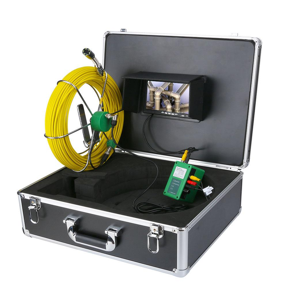 """40M/131ft Sewer Pipe Inspection Camera System DVR Function with 8GB Card 7"""" Monitor 1000TVL Snake Drain Waterproof Video Camera"""