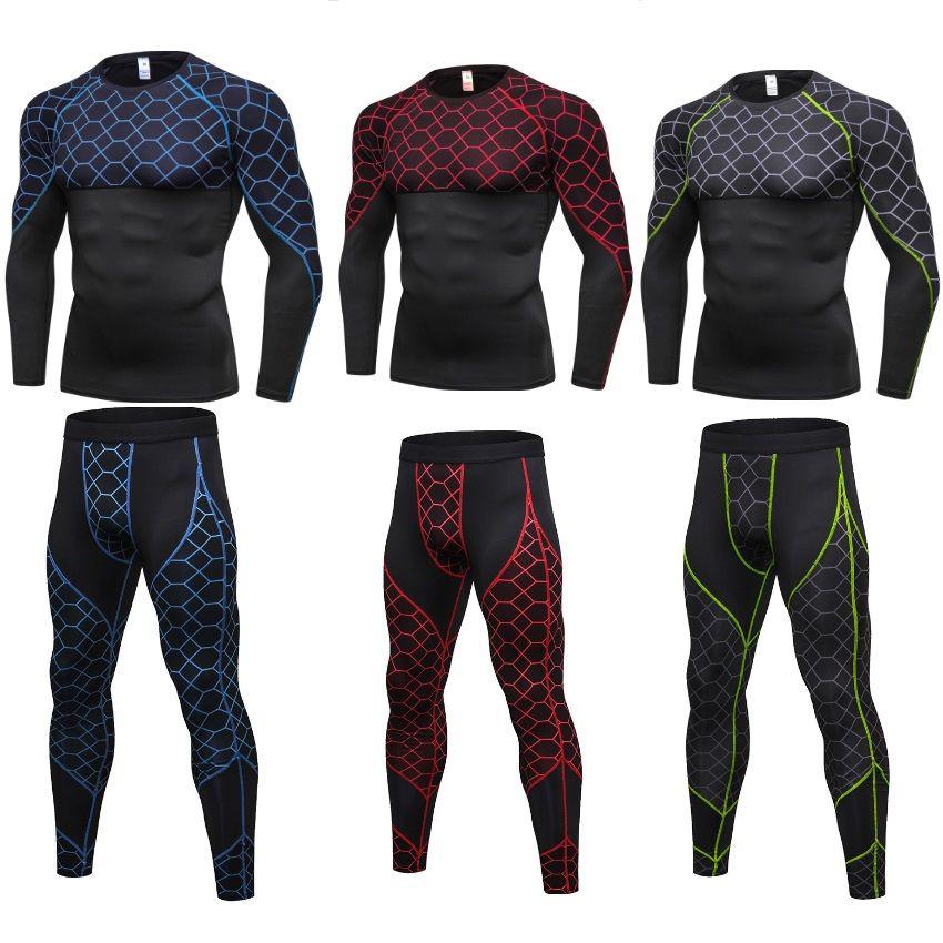 Мужчины Compression штаны рубашка с длинным рукавом Top Workout Set Tight Фитнес LeggingTracksuit DK7714KSG