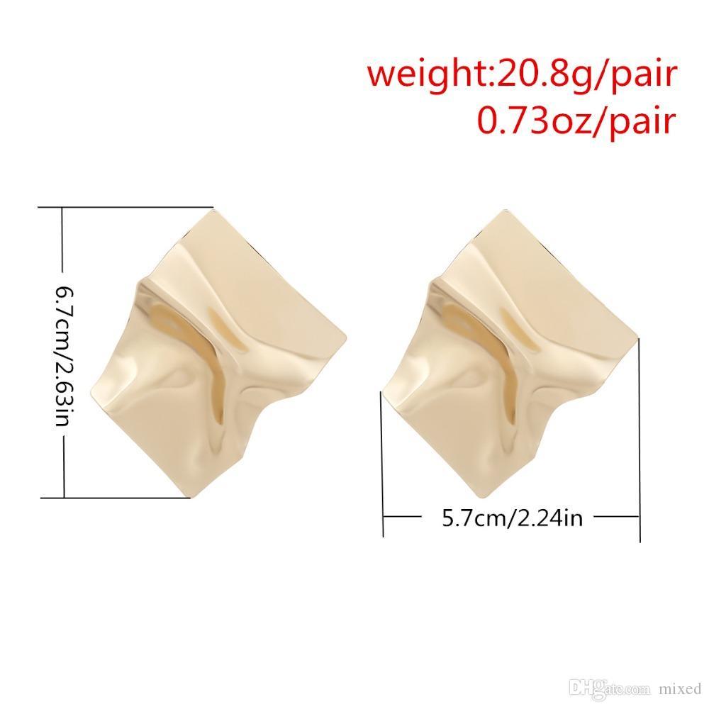 Große Ohrringe 2018 Goldfarbe Aussage Ohrringe Unregelmäßige Oberfläche Metallbolzenohrring für Frauen earing Modeschmuck Großhandel