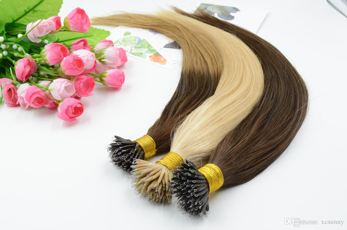 """XCSUNNY 100% indiano capelli umani nano Remy capelli estensioni dei capelli ombre 18 """"20"""" 1 g / s 100 g + 100 pezzi Stock Nano Loop estensioni dei capelli"""