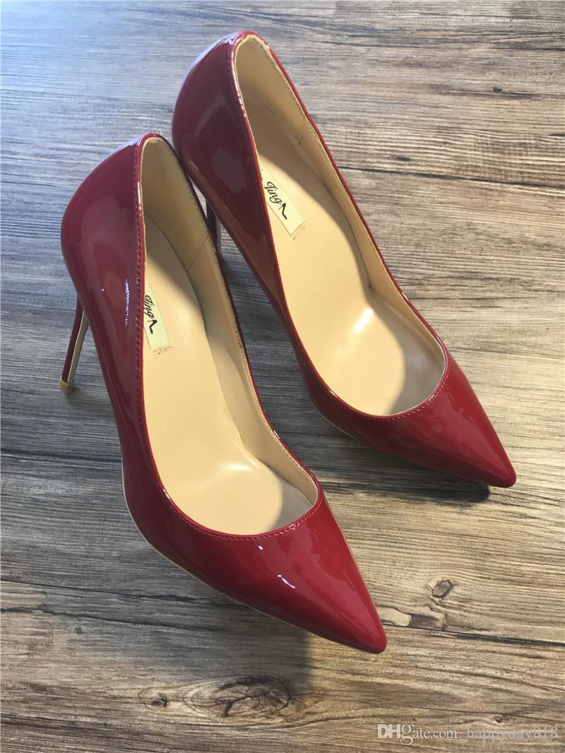 Бесплатная доставка реальные фото натуральная кожа старинные Красный патент точка toe леди туфли на высоком каблуке насос размер 33-43 дамы каблуки 12 см 10 см 8 см