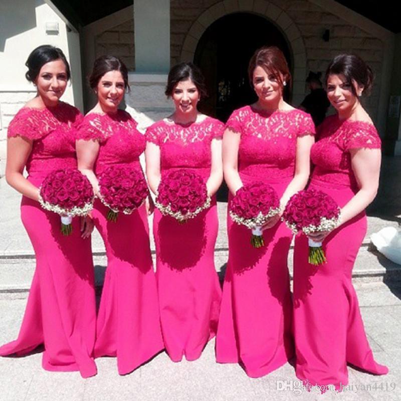 Fuchsia dama de honra vestidos 2020 Cap Bateau Neck mangas Lace Top Illusion Sereia Sweep Trem Plus Size dama de honra Convidado de Casamento Vestidos