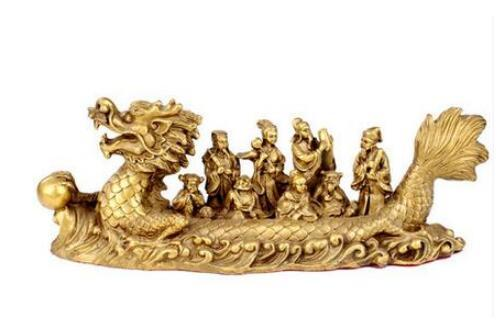 copper statue of Feng Shui decoration craft ornaments The Eight Immortals Crossing dragon boat Home Furnishing decoratio