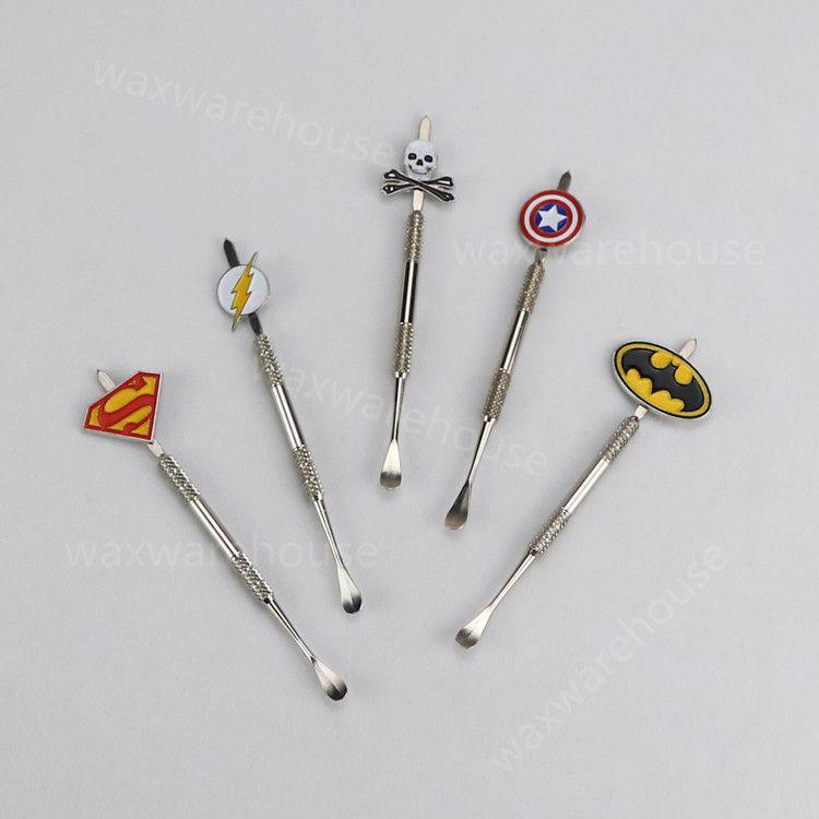 5 가지 색상 Dabber tool with deign stickers Pokeball, Batman, Captain, superhero, Flash and Skull wax Dab tool 120mm Jars Tool