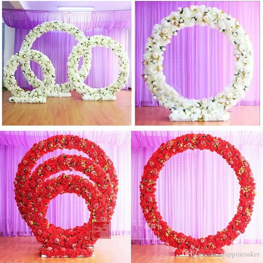 Personalizzato nuovo arco di ferro arco di scena di scena sfondo di piombo piombo sfondo arco in ferro cornice con fiori artificiali di seta