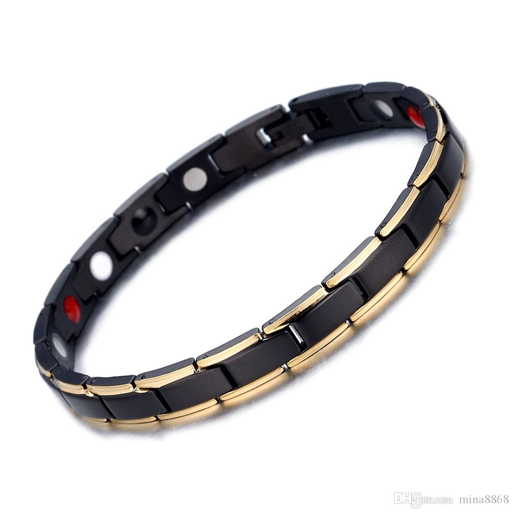 Wholesale Fashion Black Color Health Energy Bracelet Bangle Women 316L Stainless Steel 4 in 1 Bio Magnetic Bracelets Jewelry