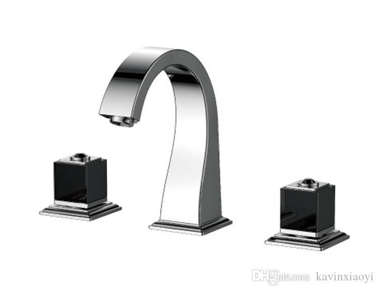 """Chrome 8 """"Powszechny zawór ceramiczny Trzy otwory 3 szt. Otoczowa łazienka Basen Mikser Tap Sink Faucet Square Design"""