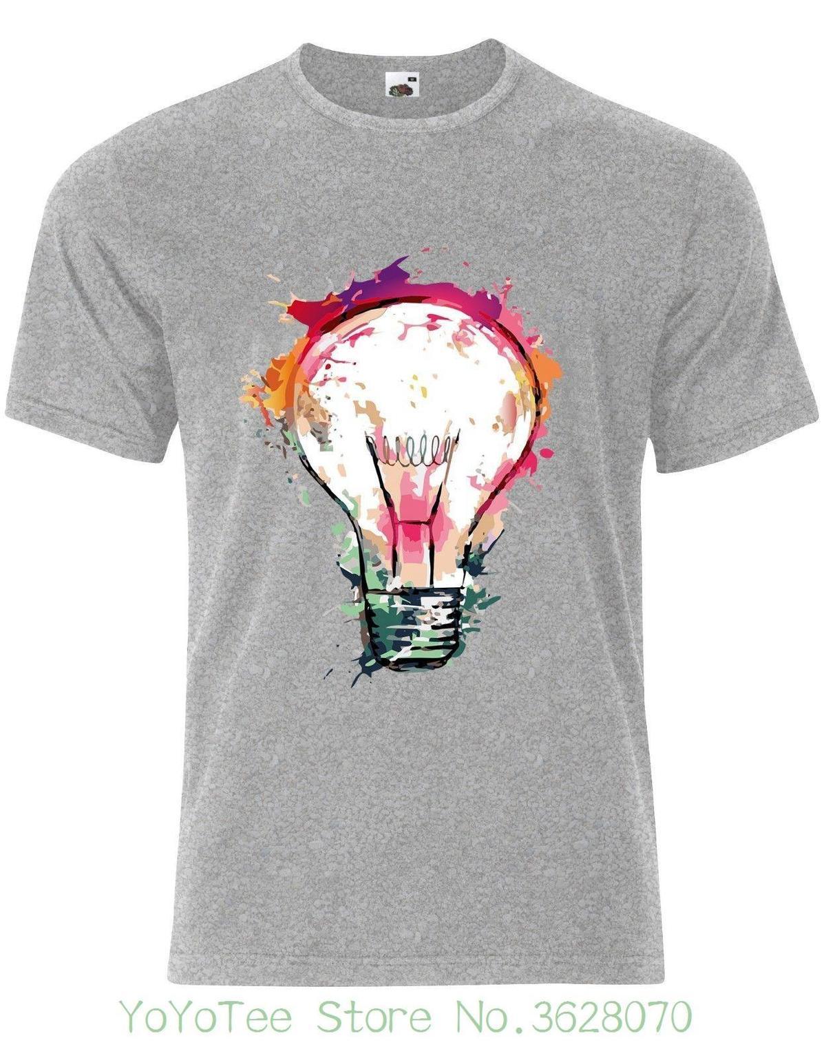 Colourful Light Bulb Ladies Woman Tshirt Tee Top AJ90