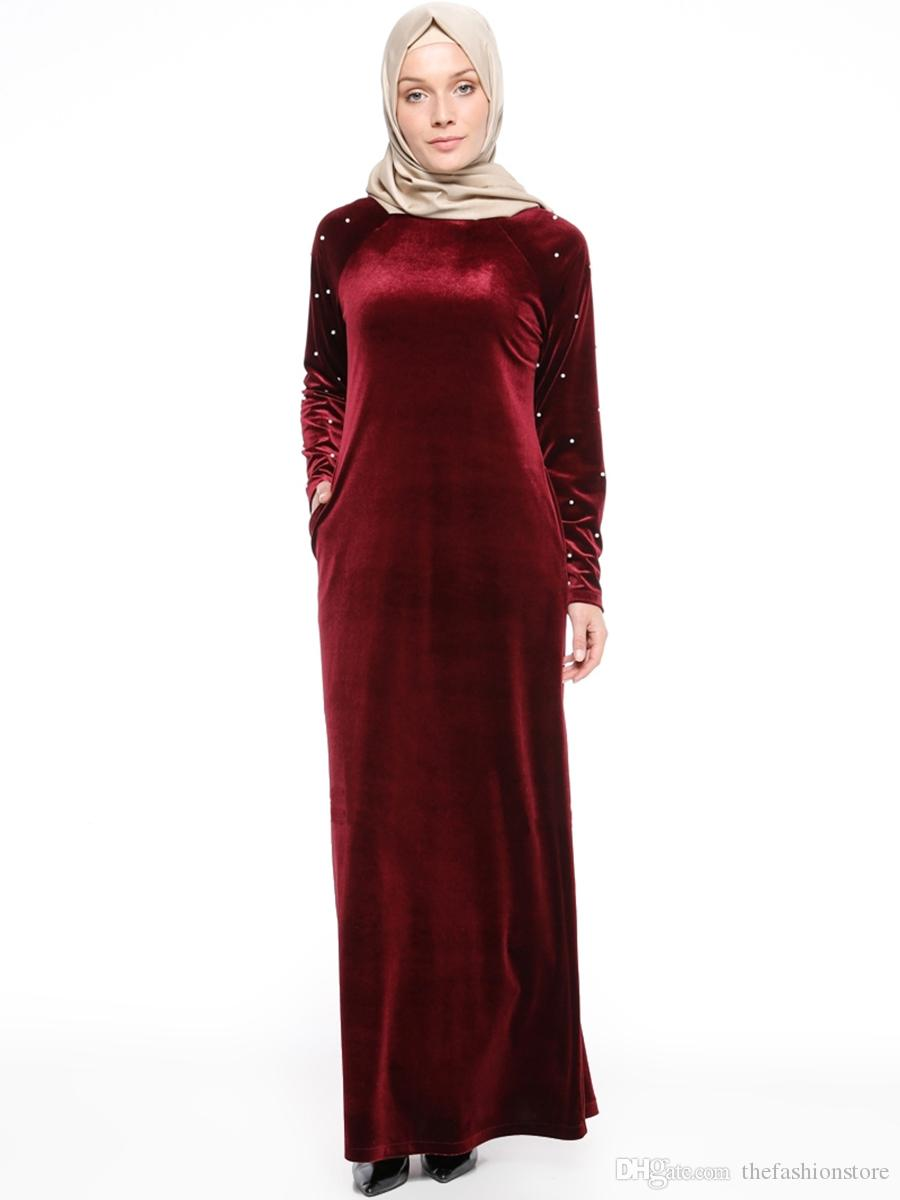 2019 Muslim Women Long Sleeved Velvet Dress Plus Size Islamic Women Bodycon  Robes Evening Party Dress M XL From Thefashionstore, $20.1   DHgate.Com