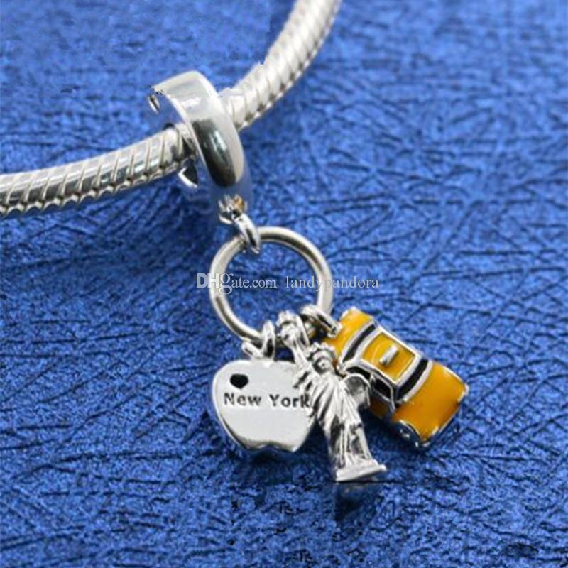 New 100% S925 Sterling Silver New York Highlights Ciondola il branello di fascino Adatto a gioielli Pandora europei Bracciali Collane Pendenti