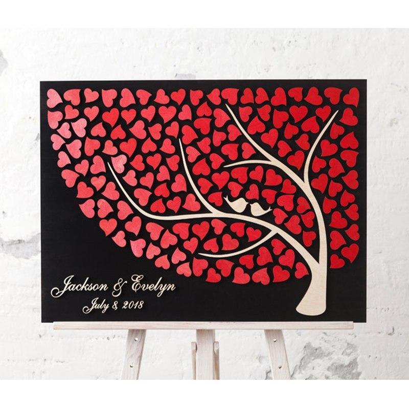 R/ústico 3d /árbol de libro de invitados para boda personalizable de madera de alternativa libro de invitados para boda con nombre y fecha Regalos /únicos de boda para parejas