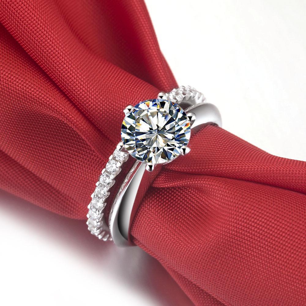 Total 3.55ct anel de diamantes sintéticos para mulheres prata sólida banhado a ouro branco Anéis dois anéis em um conjunto de casamento nupcial amor eterno anel