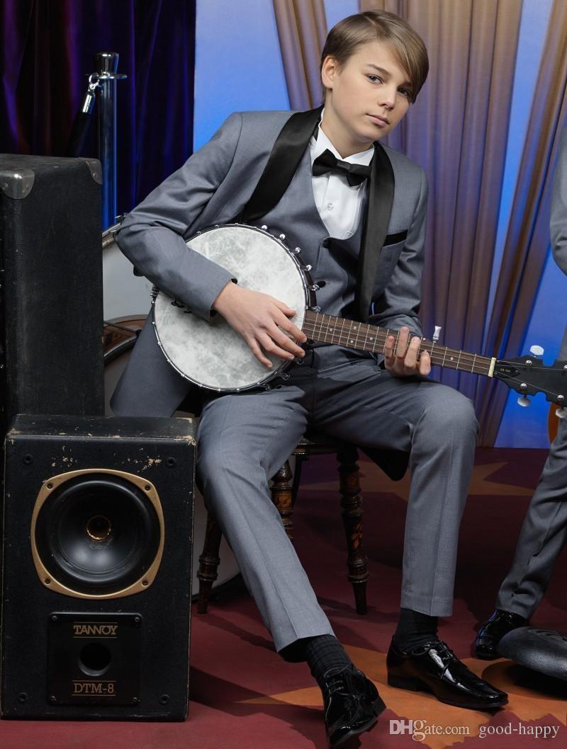 Nueva moda Gray Boy Formal Wear Hermoso niño Kid Attire Wedding Apparel Blazer fiesta de cumpleaños traje de baile (chaqueta + pantalones + corbata + chaleco) 12