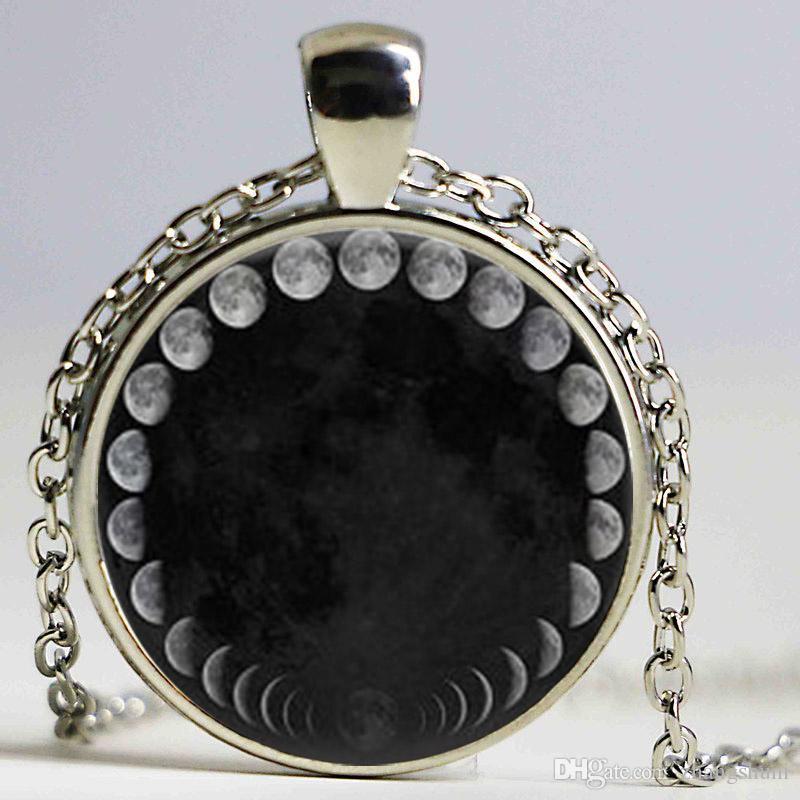 Chegada nova Wiccan Colar De Pingente Ciclo Lunar Lua Fases Nebulosa Da Lua Colar De Vidro cabochão jóias