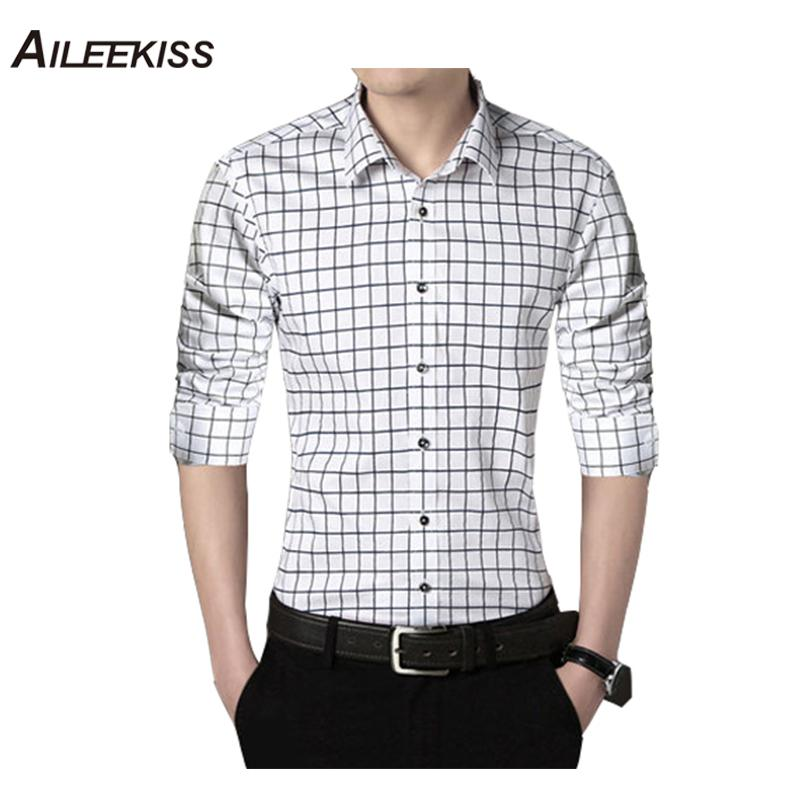 AILEEKISS 2018 Fashion Print Plaid Shirt Casual Men Long Sleeve Shirt Stitching Fashion Design Fabric Soft Comfortable Men XT746