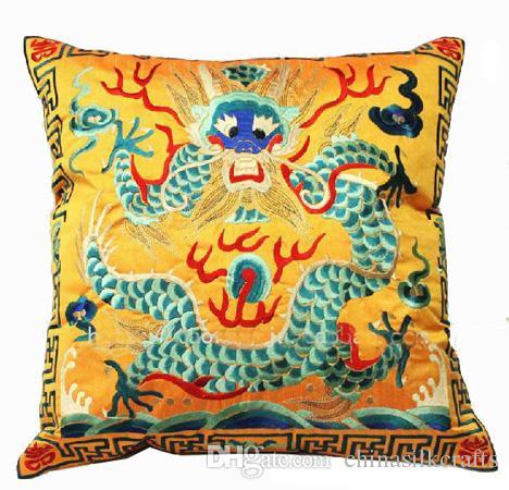 Bordado do vintage Dragão Chinês Capa de Almofada Do Sofá Cadeira Étnica Voltar Almofada Casa Decorativa Cetim Fronha 43x43 cm 55x55 cm