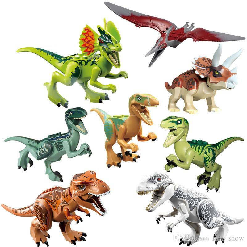 العالم نموذج الديناصور اللعب الجوراسي بارك الفيلم triceratops الديناصور نموذج اللبنات أطفال اللعب 8 قطعة / المجموعة