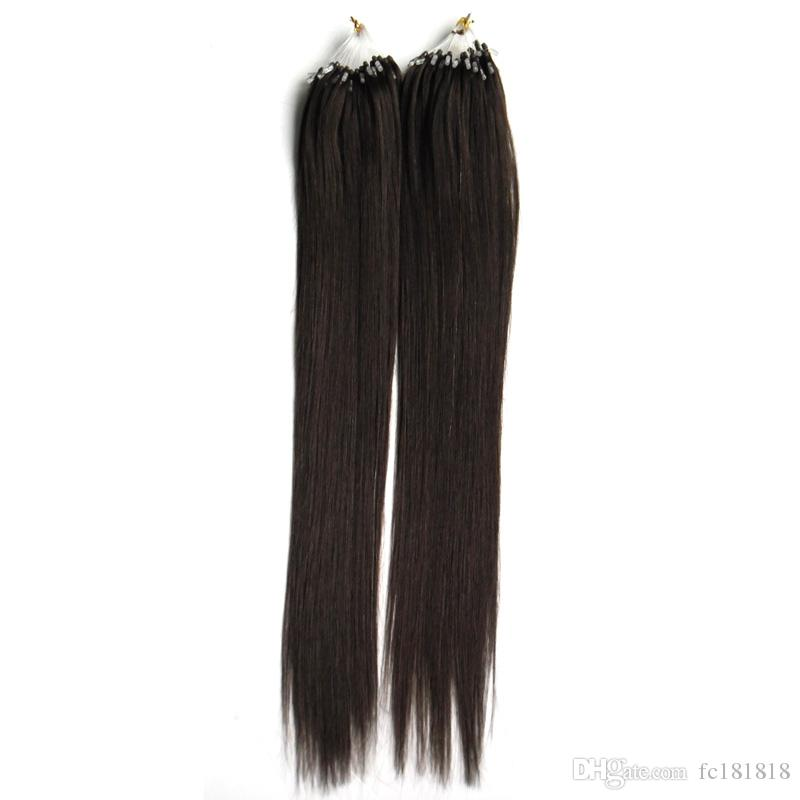 Loop Micro Remy gerade Spitze Haar 100g Loop Micro Ring Echthaar Haarverlängerung Link Bead Echt European Salon Style Hair