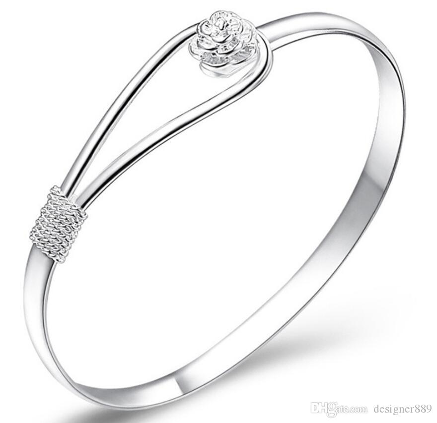 charm bangle bracelets 925 sterling silver rose flower cuff fashion bangle for women jewelry free shipping