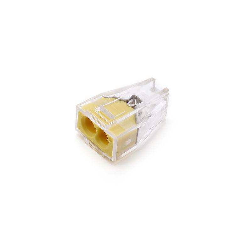 50PCS 773-102 PCT-102 Quick Wire Connector 2 pin Cable Terminal Block Connector 400V 18-12AWG Push in wire yellow
