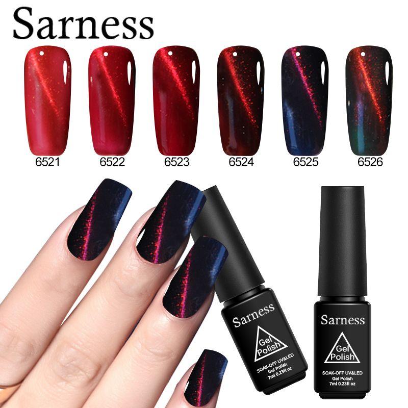 Sarness 7ml Holographic Cat Eye Nails Gel Red Color Magnetic Soak ...