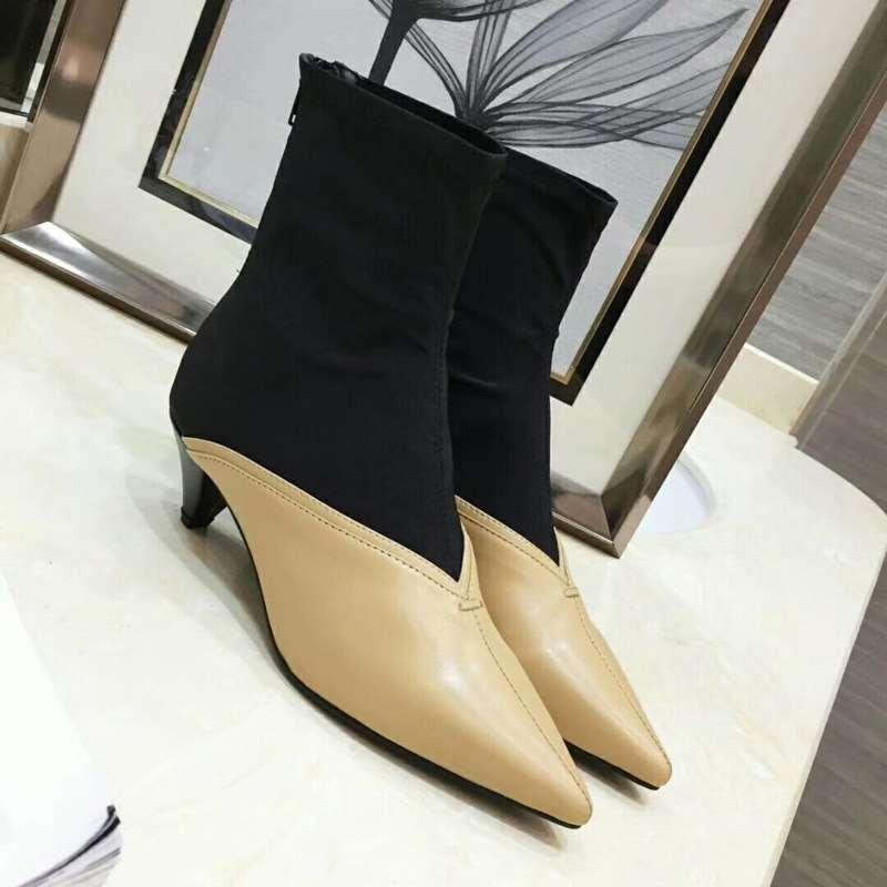 208 new pointed booties leather plus stretch socks women's boots back zipper fashion wild single boots