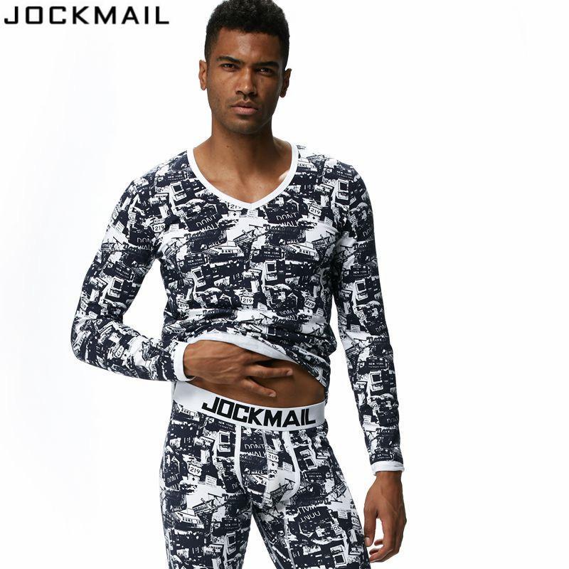 JOCKMAIL Brand Men Thermal Underwear Long Johns Sets 2pcs tops+pants Bottom Underwear cueca Gay leggings Underpants