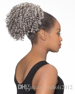 Clip di capelli naturali grigio crespi ricci coda di cavallo in grigio umano coulisse estensione coda di cavallo pony per donne nere 120g