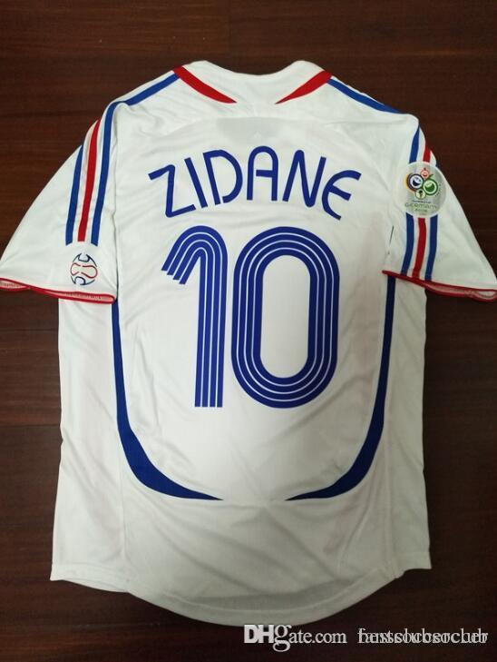 Zidane#10 FRANCE Away Retro Soccer Jersey 2006
