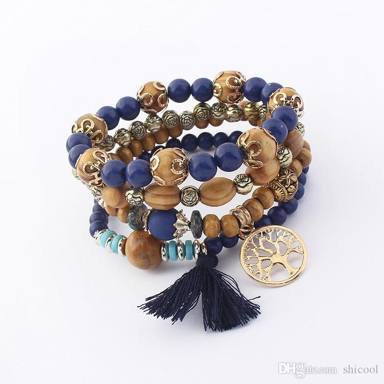2018 Cute Wood Bead Bohemia Elastic Charms Bracelets & Bangles Wooden Beads Bracelet Multilayers Tassel Bracelet For Women