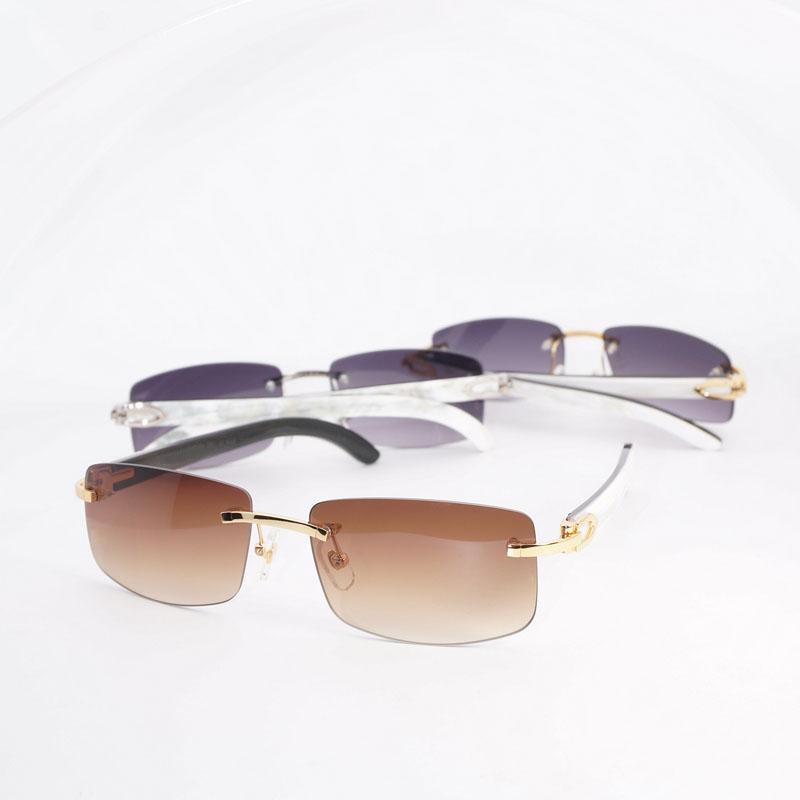 Natural chifre Sunglasses Men Madeira Sombra Eyewear Acessórios Oculos de Verão sem aro óculos para Beaching Driving