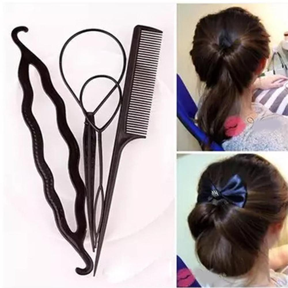 Fashion 4pcs Ponytail Creator Plastic Loop Styling Tools Pony Tail Clip Hair Braid Maker Styling Tool Salon Magic Hair