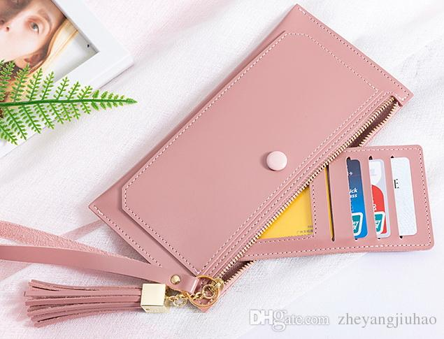 New women tassel phone wallets lady fashion clutchs female casual zero card purses pink color no772