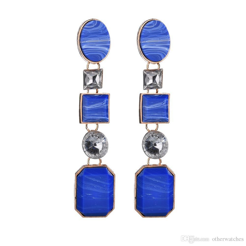 Multi layer Diamond Earrings resin geometric Earrings Dangle Chandelier