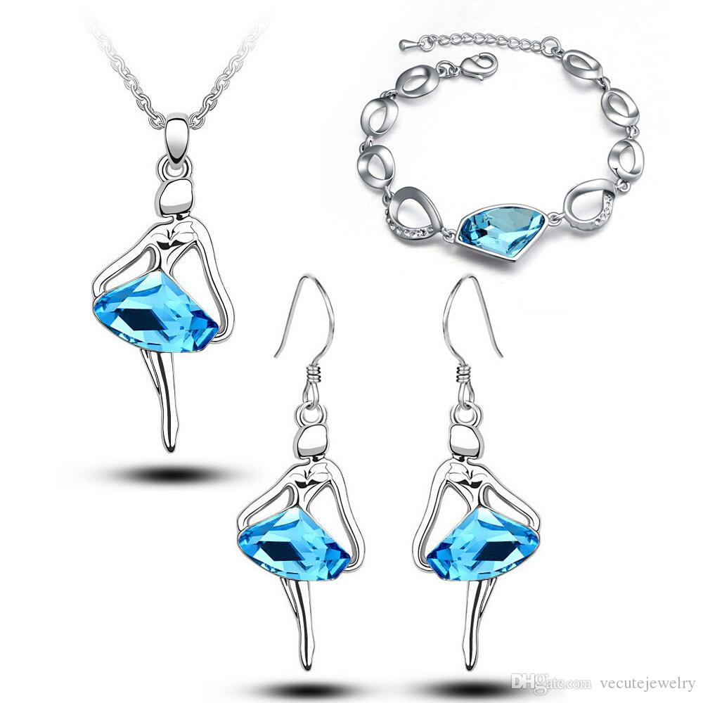 18K White Gold Plated Ballet Dancing Girls Figure Crystal Necklace Earrings Bracelet Jewelry Set for Women Made With Swarovski Elements