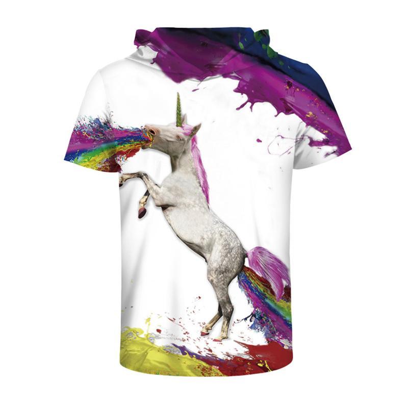 Casual Hoodies T-shirt Men T Shirt Anime Dream Unicorn 3D Print Fashion Harajuku Hip Hop Unisex Hooded Tshirt