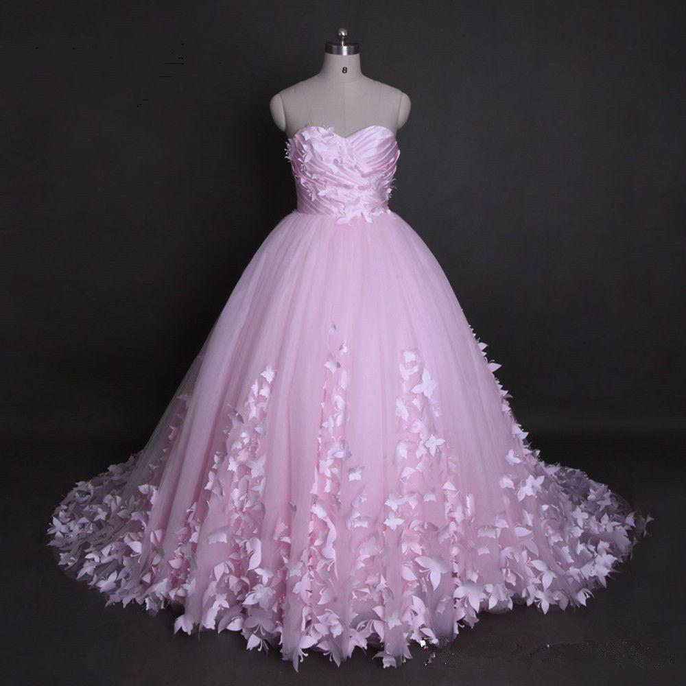 Großhandel Prinzessin Schatz Weiß Elfenbein Rosa Applique Schmetterling  Hochzeitskleid Fee Brautkleid Custom Plus Size Formale Anlässe Von Hilian,