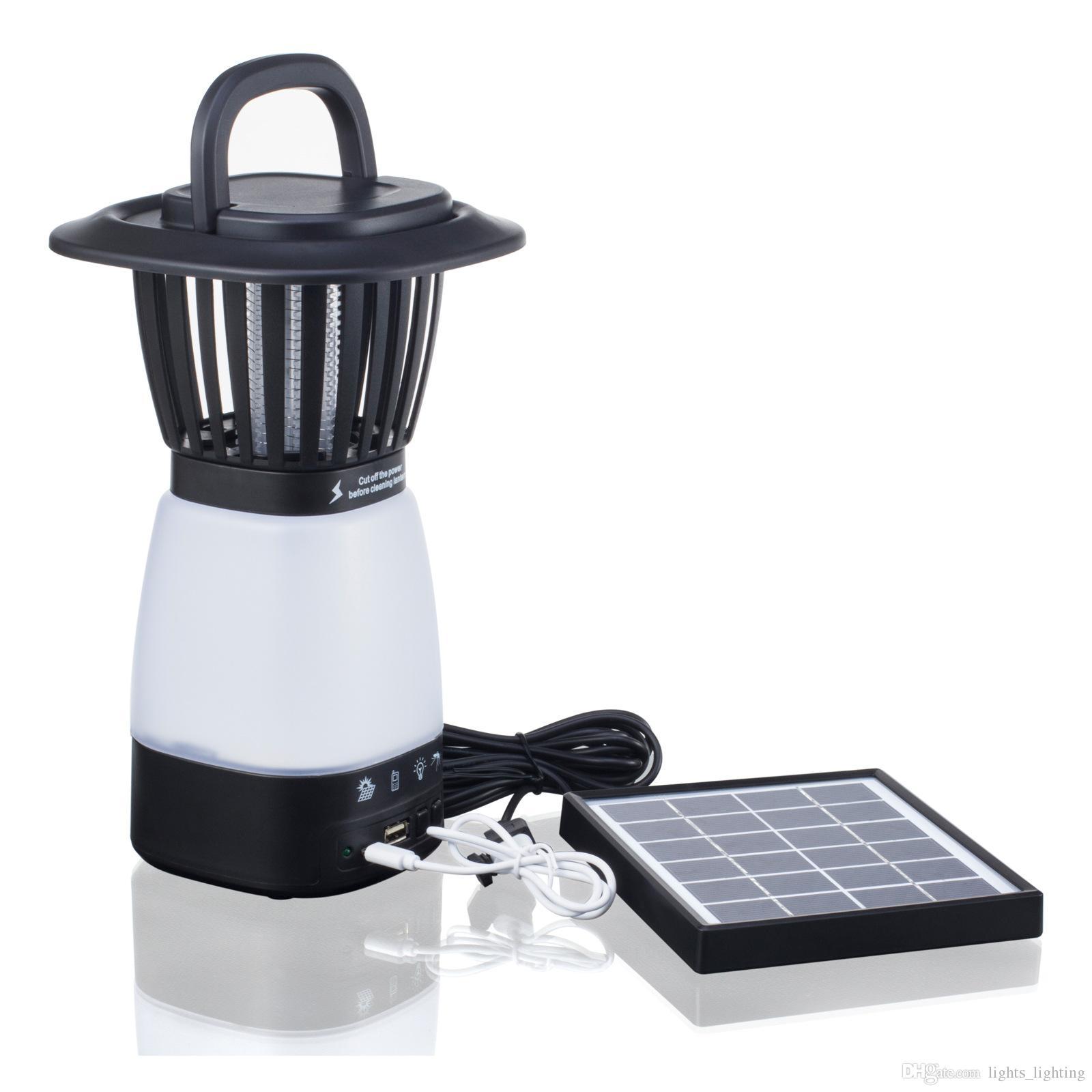 Lâmpadas solares Multifuncional lâmpada LED mosquito matando lâmpada de acampamento ao ar livre dupla finalidade ao ar livre lâmpada com carregamento de energia solar