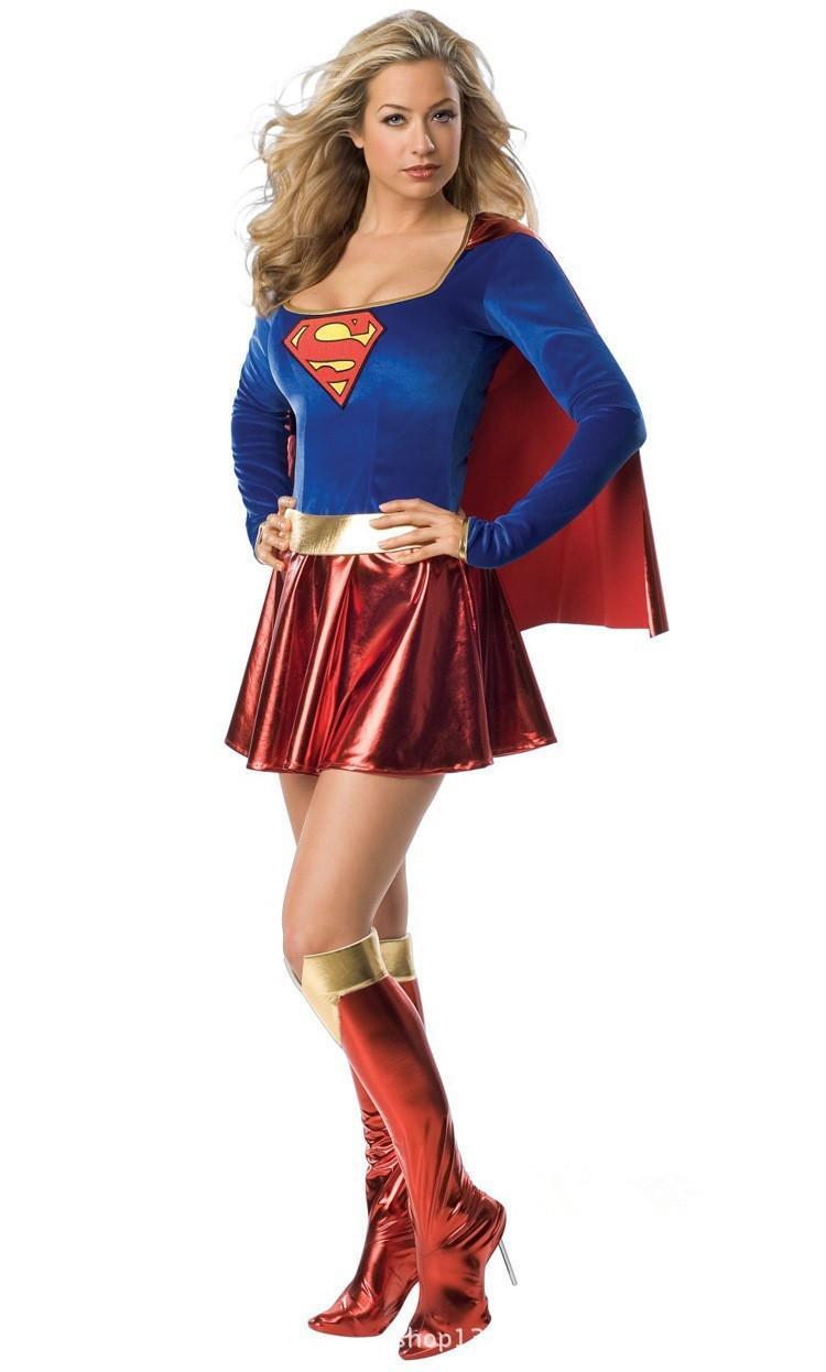 Seksi Ince Superwoman Cadılar Bayramı Cosplay Kostüm Wonder Woman Kostüm Uzun Kollu Elbise ile Şal + Boot Kapak Yetişkin Üniformaları Y1892609