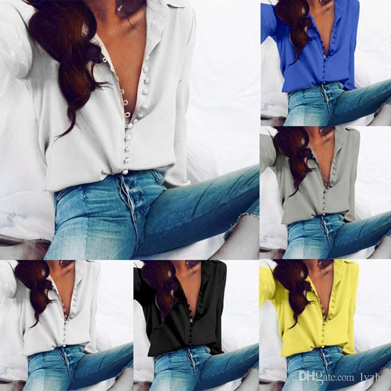 2018 New Womens Ladies Sexy Long Sleeve Loose Casual Shirt Tops Blouse Plus Size 5 Colors