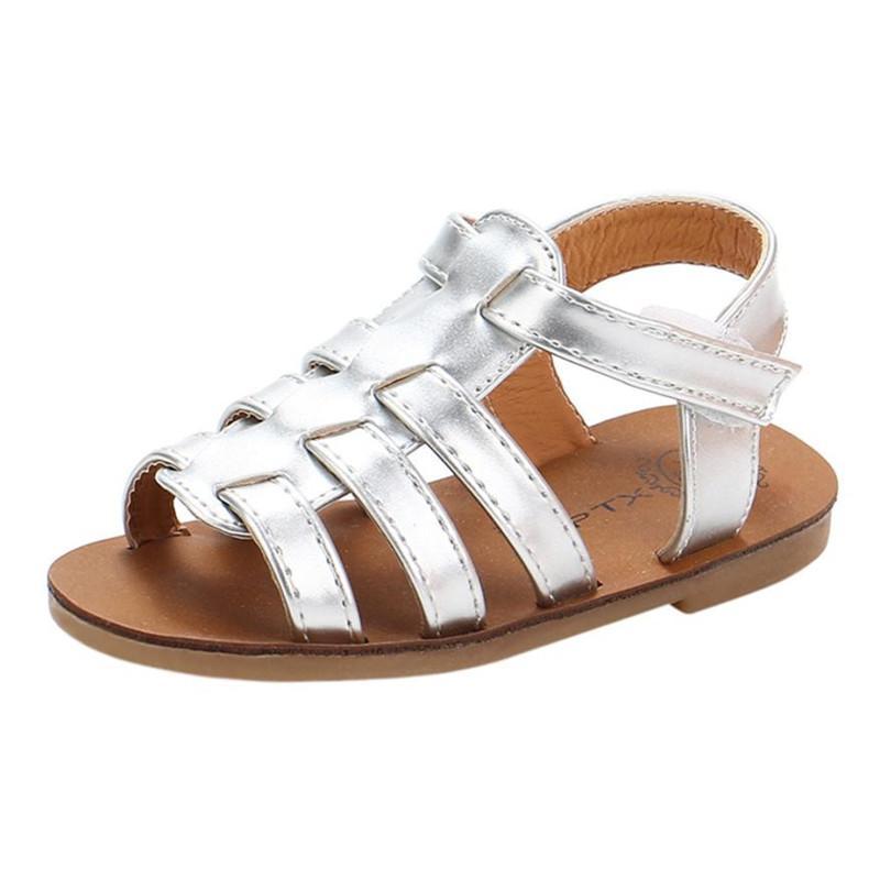 Yaz Bebek Çocuk Kız bebekler Sandalet Plaj Sandalet Prenses Roma Ayakkabı Kapak düz topuklu yumuşak S3APR18 Flops