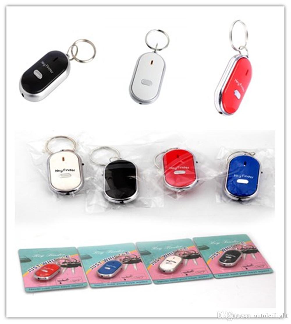 mini novelty key finder White LED Key Finder Locator Find Lost Keys Chain Keychain Whistle Sound Control