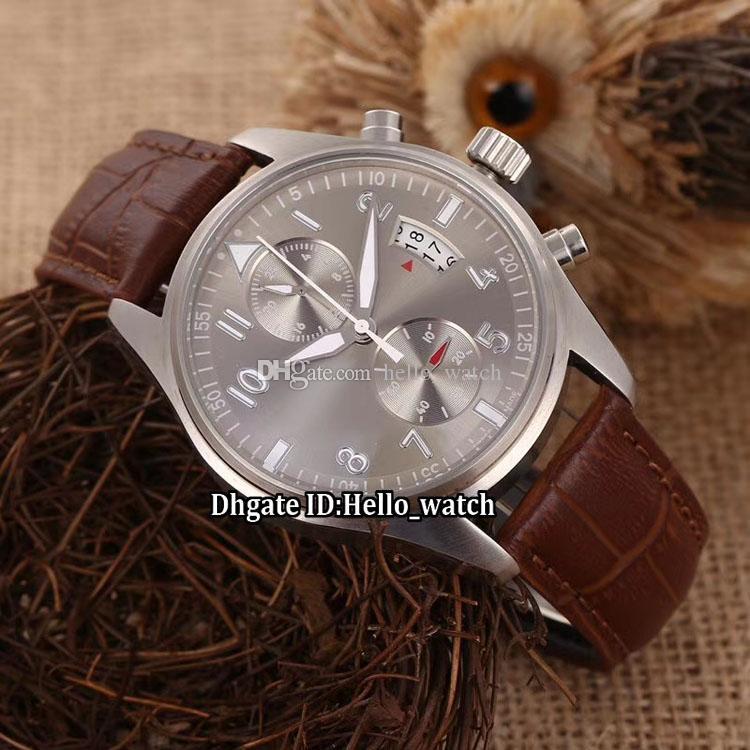 Новый Spitfire Big Pilot IW387802 Серебристо-серый циферблат Автоматические мужские часы Серебряный чехол Коричневый кожаный ремешок Мужские спортивные часы
