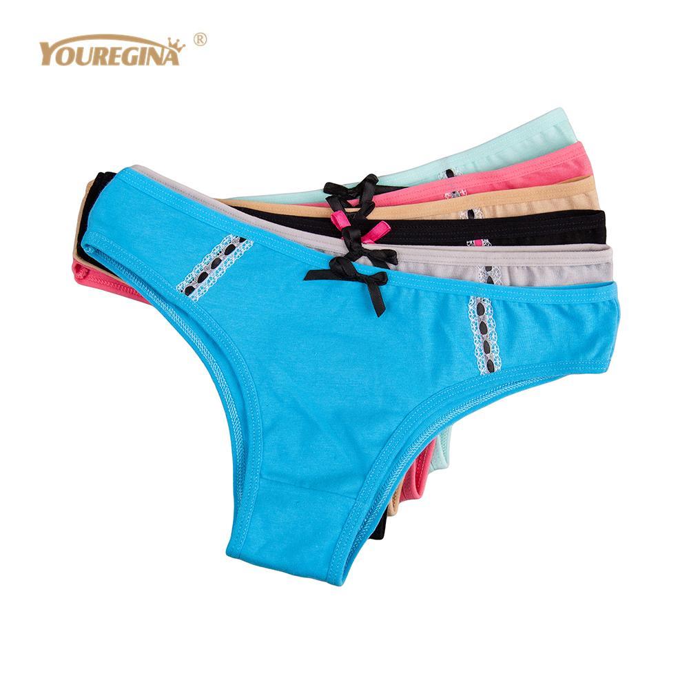 YOUREGINA Sous-vêtements Femmes Coton String Sexy Culottes G String Dames Briefs Femme Caleçon Sexy Tanga Sous Porter Femmes 6pcs / lot