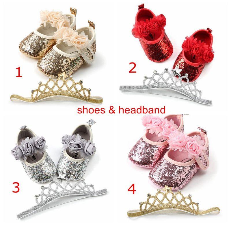 4Colors chaussures de bébé 2pc Set fleurs de fleurs bébé paillettes chaussures de marche avec bandeau enfants enfants Paillette PU chaussures nouveau-né Big Bar bandeau 0-2 ans