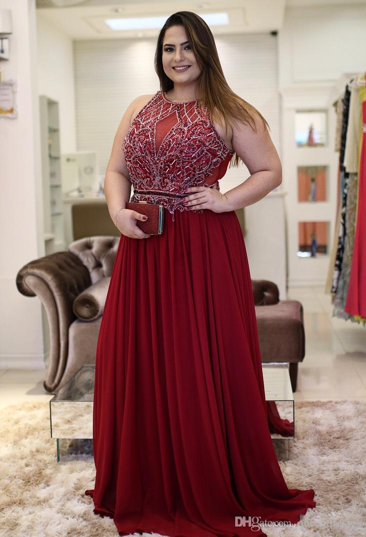 Luxury Burgundy Long Prom Dresses Plus Size Jewel Crystal Chiffon Sheath  Floor Length Evening Gowns Formal Women Special Occasion Dresses Online  Dress ...