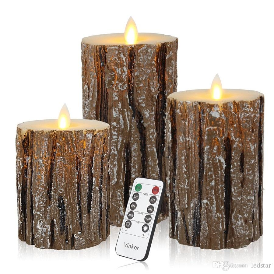 Flameless Candles Flickering Flameless Candles Set Decorative Flameless Candles Classic Real Wax Pillar With Moving LED Flame With Remote