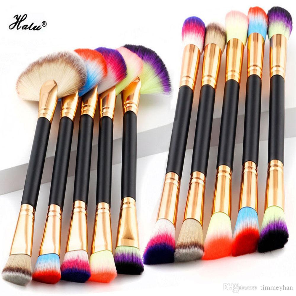 HaLu Professional Foundation Double Tête Brosse De Maquillage 1 Pc Ventilateur Mélange De Maquillage Poudre Blush Pinceau Double End Brosses De Maquillage